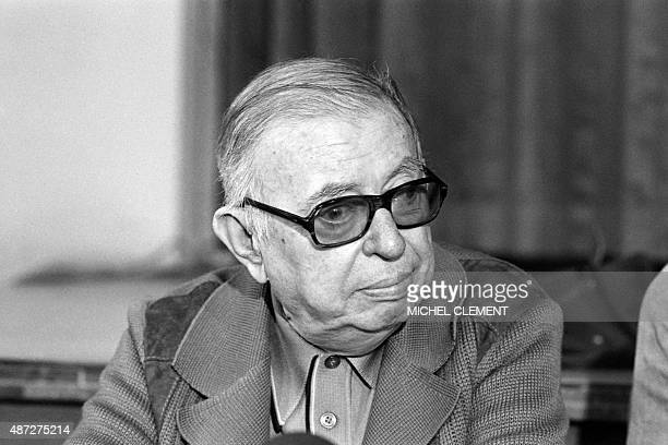 A photo taken on June 20 1979 in Paris at the Lutetia hotel shows JeanPaul Sartre during a press conference for the initiative called a boat for...