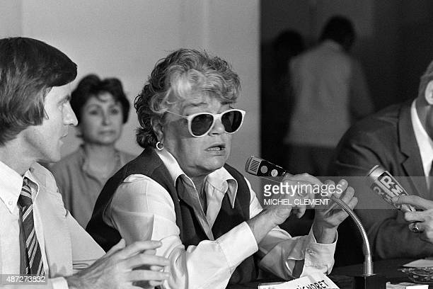 A photo taken on June 20 1979 in Paris shows Bernard Kouchner and Simone Signoret at the Lutetia hotel during a press conference for the initiative...