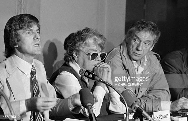 A photo taken on June 20 1979 in Paris shows Bernard Kouchner Simone Signoret and Yves Montant at the Lutetia hotel during a press conference for the...