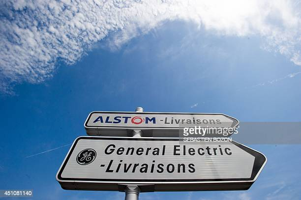 A photo taken on June 23 2014 in Belfort shows road signs indicating directions for deliveries to French power and transport engineering company...