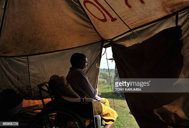 Photo taken on June 25 2009 of a boy in a wheechair at an Internally displaced persons camp in Kenya's Molo district where many members of the Kikuyu...