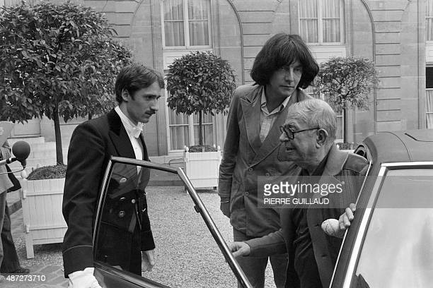 A photo taken on June 26 1979 in Paris shows Andre Glucksmann JeanPaul Sartre at the Elysee palace as they arrive for a meeting with French president...