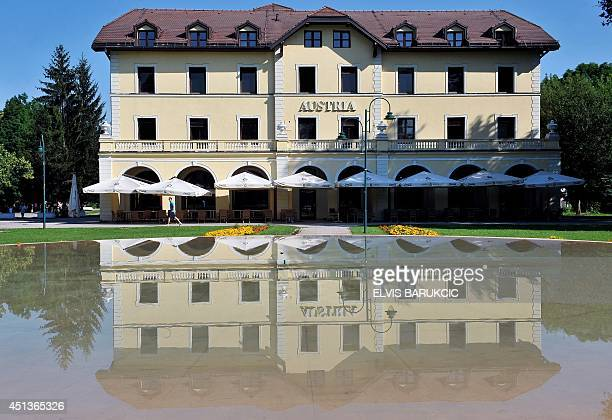 A photo taken on June 28 2014 shows the Austria's Hotel in Sarajevo's Western suburb of Ilidza The Austria Hotel is the last place of stay of...