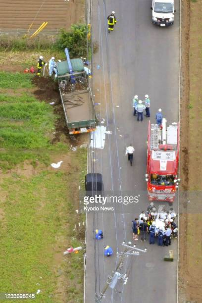 Photo taken on June 28 from a Kyodo News helicopter shows the site of a traffic accident earlier in the day in the Chiba Prefecture city of...
