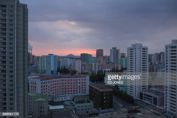 A photo taken on June 4 2017 shows a general view of the Pyongyang city skyline / AFP PHOTO / Ed JONES