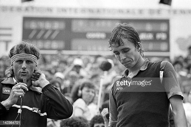 Photo taken on June 7, 1981 shows Sweden tennis player Bjorn Borg speaking after he beat Czech Ivan Lendl at Roland Garros stadium during the French...