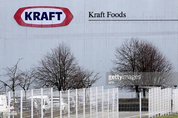 Photo taken on March 1 2010 shows the logo of Kraft Foods at the Halle site Belgium Trade unionists blocked the entrance to the site early March 1...