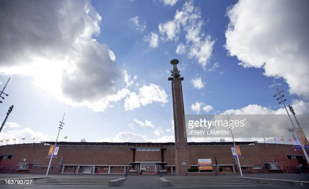 A photo taken on March 13 2013 shows an outside view of the Olympic stadium in Amsterdam AFP PHOTO / ANP / JERRY LAMPEN netherlands out