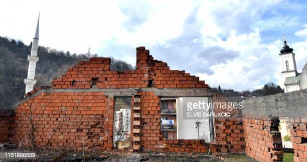 Photo taken on March 15 shows ruins in the East-Bosnian town of Srebrenica. - Srebrenica massacre happened within ethnic cleansing campaign, in July...