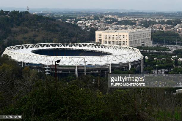 Photo taken on March 17, 2020 shows the Olympic stadium in Rome and the Foreign Ministry Farnesina building . - The European EURO 2020 football...