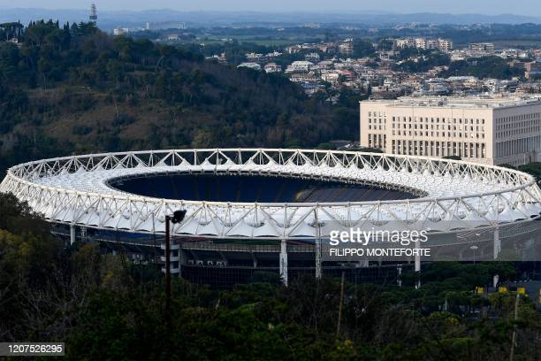 Photo taken on March 17, 2020 shows the Olympic stadium in Rome. - The European EURO 2020 football championship, due to be played in June and July...