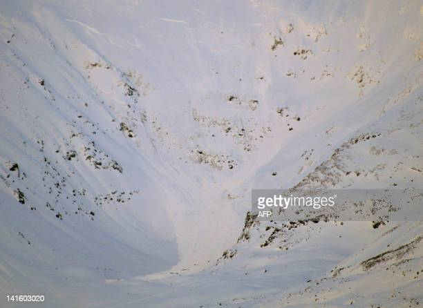 A photo taken on March 19 2012 shows the Sorbmegaisa mountain after an avalanche hit an expedition of Swiss nationals led by a French guide on the...