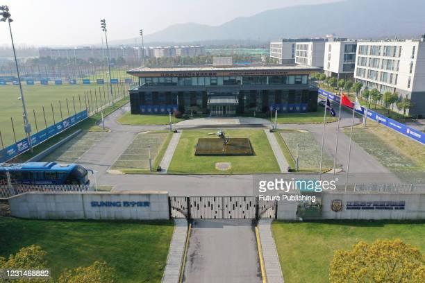 Photo taken on March 2, 2021 shows the Jiangsu Suning Football Club in Nanjing, east China's Jiangsu Province. Jiangsu Suning Football Club, the...