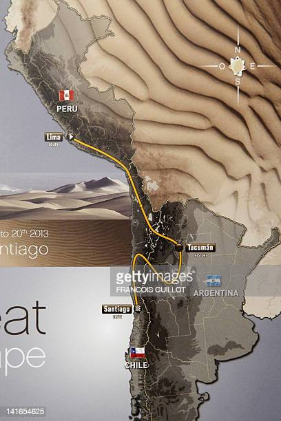 A photo taken on March 21 2012 shows the map of the 34th edition of the Dakar rally race 8000 km which will start on January 5 2013 in Lima Peru and...