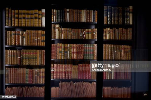 A photo taken on March 23 2018 shows bookshelves at the British Library within the World Book Day in London United Kingdom The British Library is the...