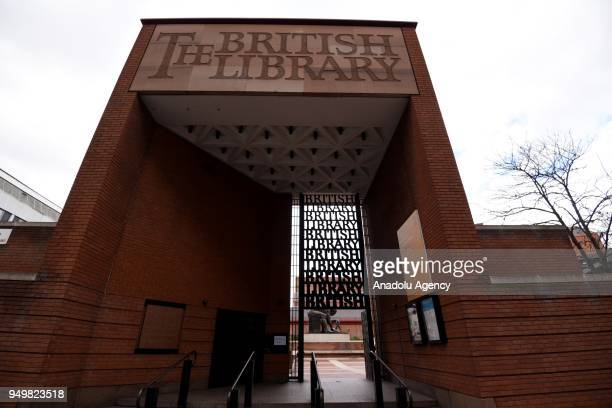 A photo taken on March 23 2018 shows the entrance of the British Library within the World Book Day in London United Kingdom The British Library is...