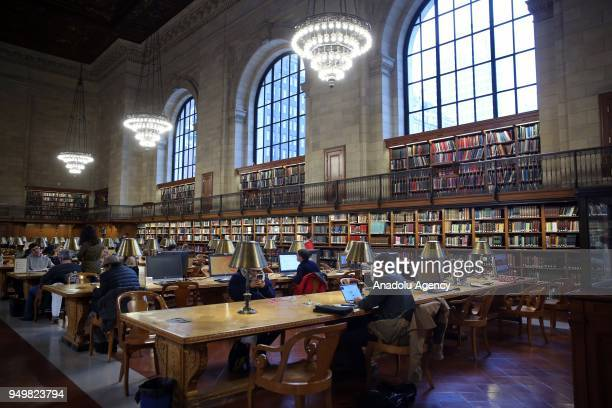 A photo taken on March 27 2018 shows the inside view of the New York Public Library within the 'World Book Day' in Manhattan New York United States...