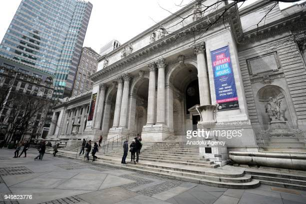 A photo taken on March 27 2018 shows the outside view of the New York Public Library within the 'World Book Day' in Manhattan New York United States...