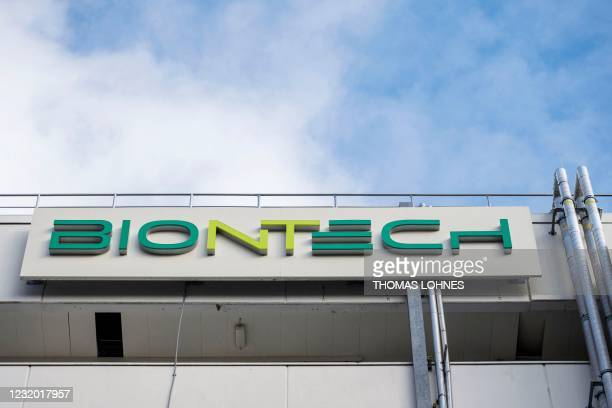 Photo taken on March 27, 2021 shows the logo on the facade of the new manufacturing site of German company BioNTech for the production of the...