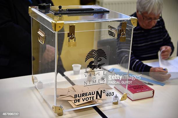 A photo taken on March 29 2015 shows a ballot box on March 29 2015 during the second round of the French departemental elections in the southern...