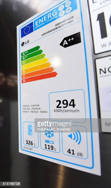 A photo taken on March 3 2016 shows an energy rating label on a refrigerator in a store in Brussels An European project plans to revamp the energy...