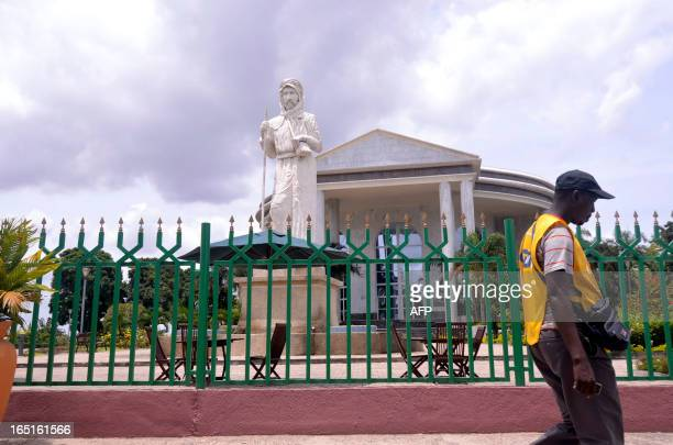 A photo taken on March 30 2013 shows a statue of Italian explorer Pietro Paolo Savorgnan di Brazza also known as Pierre Paul François Camille...