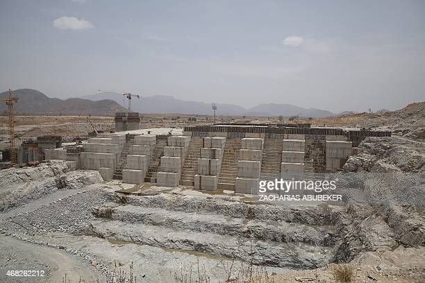 A photo taken on March 31 2015 shows the Grand Renaissance Dam under construction near the SudaneseEthiopian border Ethiopia began diverting the Blue...