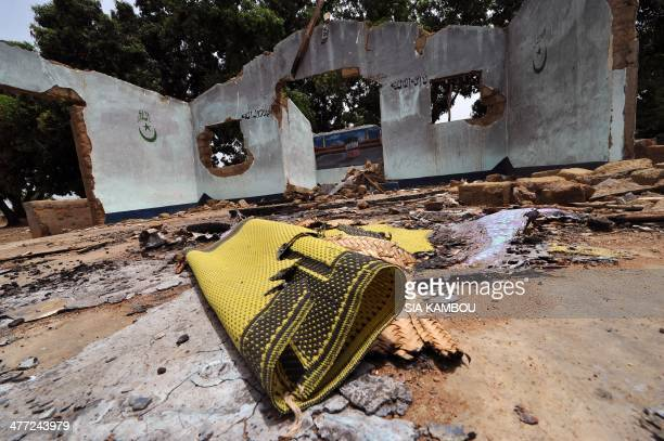 Photo taken on March 7 2014 shows a mosque reportedly destroyed by Antibalaka Christian militias in Boyobane about 27km from Bozoum The Central...