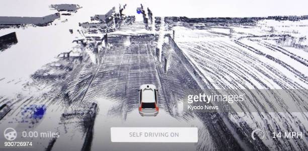 Photo taken on March 7 in Pittsburgh Pennsylvania shows a selfdriving vehicle's analysis of its surroundings during a test drive conducted by Uber...