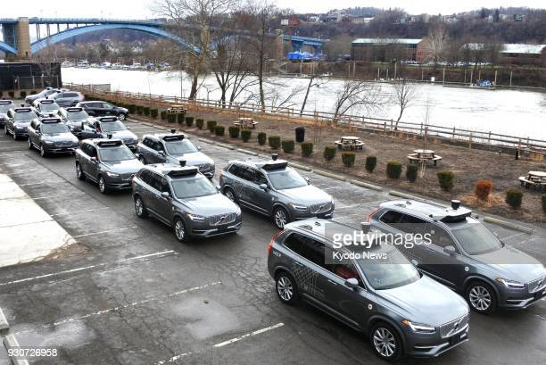 Photo taken on March 7 in Pittsburgh Pennsylvania shows selfdriving vehicles used for test drives conducted by Uber Technologies Inc ==Kyodo