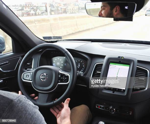Photo taken on March 7 in Pittsburgh Pennsylvania shows the dashboard of a selfdriving vehicle used in a test drive conducted by Uber Technologies...