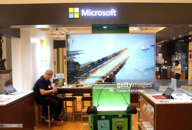 Photo taken on May 10, 2021 shows an offline experience store for Microsoft's Xbox game console in Shanghai, China.