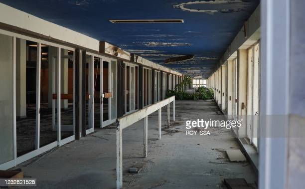 Photo taken on May 11, 2021 shows the departure hall at the abandoned Nicosia airport in the UN-protected zone of the divided Cypriot capital. - On...