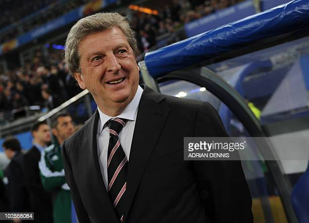 Photo taken on May 12 2010 shows Fulham's head coach Roy Hodgson smiling ahead of the final football match of the UEFA Europa League Fulham FC vs...