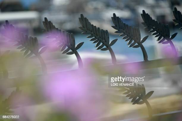 A photo taken on May 17 2017 shows a fence ornated with palms at the Festival Palace ahead of the opening ceremony of the 70th edition of the Cannes...