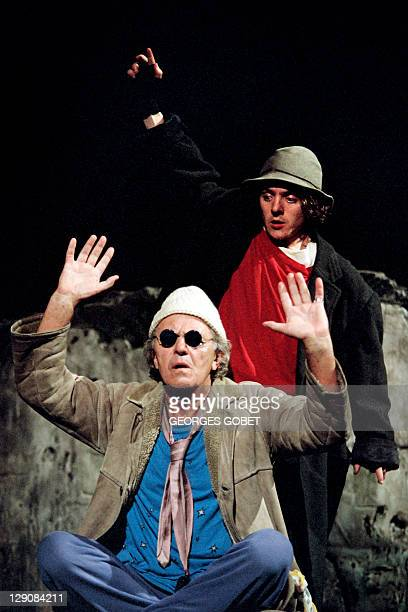 Photo taken on May 1995 in Avignon southern France showing German actor Heinz Bennent and his son performing on stage in a play written by Samuel...