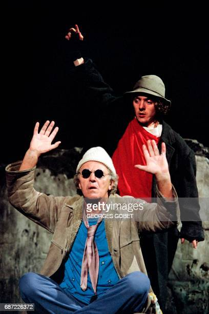 Photo taken on May 1995 in Avignon southern France showing German actor Heinz Bennent and his son David Bennet performing on stage in a play written...