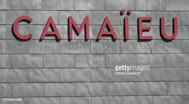 A photo taken on May 20 2020 shows the Camaieu sign hanging on the facade of the clothing brand's headquarters in Roubaix northern France Victim of...
