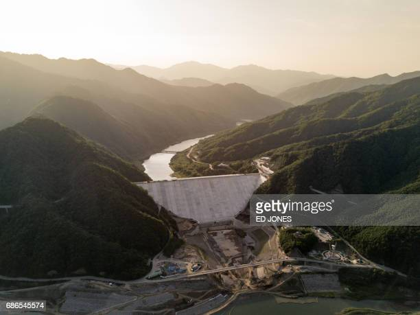 A photo taken on May 21 2017 shows an aerial view of the Peace dam north of Hwacheon near the Demilitarized Zone separating North and South Korea...