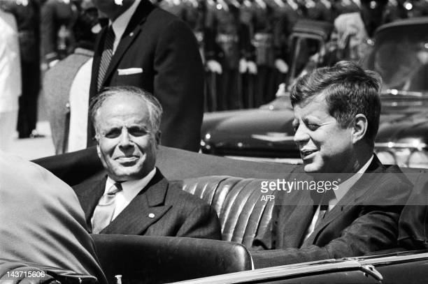 A photo taken on May 4 1961 in Washington shows US president John Fitzgerald Kennedy and his Tunisian counterpart Habib Bourguiba during his first...