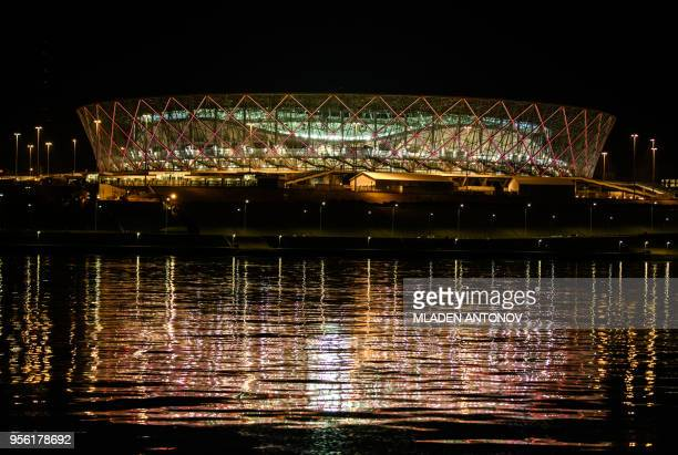 TOPSHOT A photo taken on May 8 2018 shows the Volgograd Arena stadium in Volgograd Volgograd Arena will host several cames of the FIFA World Cup 2018