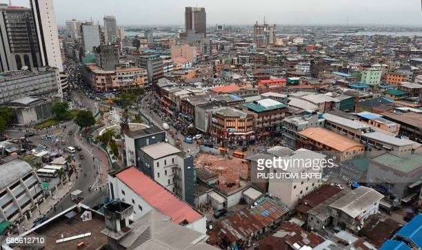 Photo taken on May 9, 2017 shows a view of multi-storey buildings in Lagos, Nigeria's commercial capital and the megacity of some 20 million people....