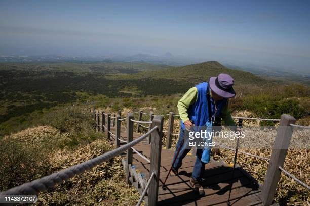A photo taken on May 9 2019 shows a hiker making their way up Hallasan or Halla mountain on Jeju island