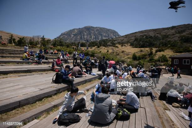 A photo taken on May 9 2019 shows hiker at a rest area near the peak of Hallasan or Halla mountain on Jeju island