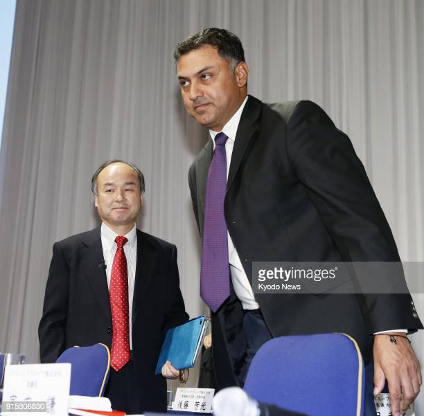 Photo taken on Nov 4 2015 shows SoftBank Group Corp CEO Masayoshi Son and Vice Chairman Nikesh Arora after a press conference in Tokyo Japan ==Kyodo