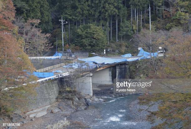 Photo taken on Nov 9 shows the scene where a helicopter crashed the previous day in the village of Ueno in Gunma Prefecture northwest of Tokyo Four...