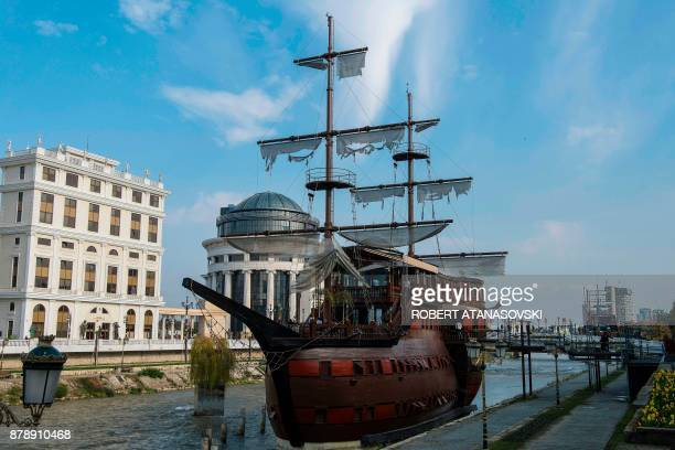 A photo taken on November 11 2017 shows a replica of a galleon turned into a restaurant on the river Vardar in Skopje The mayor of Skopje asked for...