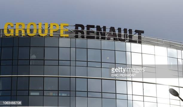 A photo taken on November 19 2018 shows the headquarters of the Renault car manufacturer in Boulogne Billancourt outside Paris Nissan chairman Carlos...