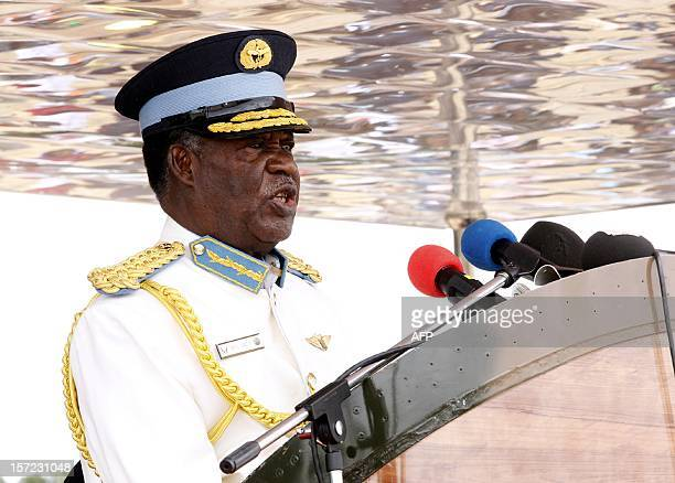A photo taken on November 2 2012 shows Zambian President Michael Sata delivering a speech at the graduating cadet officers parade in Livingstone Sata...