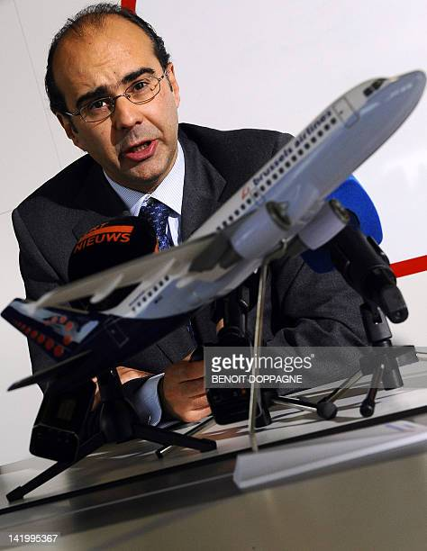 Photo taken on November 21 2011 shows Brussels Airlines CEO Bernard Gustin talking during a press conference of Brussels Airlines at the headquarters...